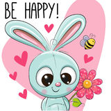 Be Happy Greeting card with Rabbit. Be Happy Greeting card Blue Rabbit with hearts and a flower vector illustration