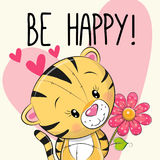 Be Happy Greeting card Tiger with hearts Royalty Free Stock Image