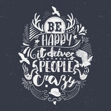 Be happy hand lettered illustration Stock Photo