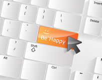 Be Happy Keyboard Concept Stock Photography