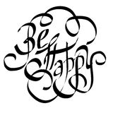 BE HAPPY lettering Stock Images