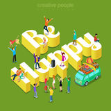Be happy lifestyle isometric concept. Be happy modern lifestyle flat 3d web isometric infographic vector. Young joyful teen micro male female crowd group joy Stock Photos