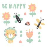 Be happy lion set royalty free illustration