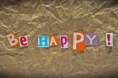 BE HAPPY message Stock Image
