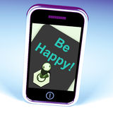 Be Happy Phone Shows Happiness Or Enjoyment. Be Happy Phone Showing  Happiness Or Enjoyment Royalty Free Stock Photos