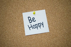 Be happy post it. Motivational post it, be happy Stock Photo