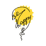 Be happy postcard with yellow watercolor splash. Hand drawn one line vector balloon. Positive inspirational quote Royalty Free Stock Photos