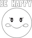 Be happy sign coloring page Royalty Free Stock Photo
