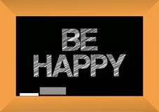 Be happy text written on a blackboard. Stock Image