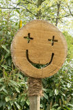 Be happy!  Tree pit sign Royalty Free Stock Photo