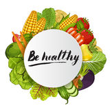 Be healthy round concept with vegetable. Be healthy round concept vector illustration. Fresh natural vegetable, vegetarian nutrition, organic farming, vegan diet Stock Images