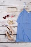Beż heeled bluzka i buty zdjęcie royalty free