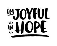 Be Joyful in Hope. Bible Scripture Design Art Printable Sticker Modern Hand Lettering with Type Accents and underline Stock Photos