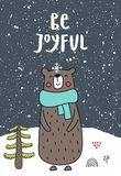 Be joyful - New Year kids poster with hand drawn lettering and cute cartoon bear. Christmas vector illustration.  vector illustration