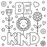 Be kind. Coloring page. Vector illustration. Be kind. Coloring page. Black and white vector illustration Royalty Free Stock Photos