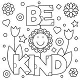 Be kind. Coloring page. Vector illustration. Be kind. Coloring page. Black and white vector illustration Royalty Free Stock Photography