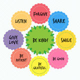 Be kind educational message for children. With colorful flowers Stock Photo