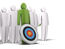 Be a leader. One green character in front of a crowd of white characters,there is a target with an arrow hitting the bull's eye, white background Stock Photography