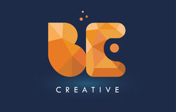 BE Letter With Origami Triangles Logo. Creative Yellow Orange Or Stock Photo