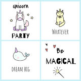 Be magical. Postcards with cute unicorns. Royalty Free Stock Photos