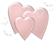 Be Mine. A valentine image with pink hearts and bugs Royalty Free Stock Image
