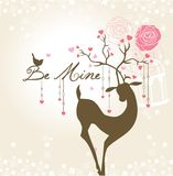 Be Mine. Romantic Valentine's card or wedding card with lovely deer, bird & floral Royalty Free Stock Photos