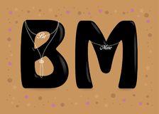 Be Mine. Black letters with pearl collars and texts Stock Photography