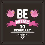 Be mine 14 february card with pink birds and ribbon. Vector illustration royalty free illustration