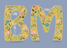 Be Mine. Floral letters with pearl collars Royalty Free Stock Photography