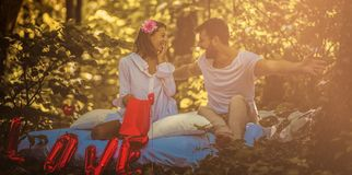 Be mine forever I love you. Young couple in nature royalty free stock image