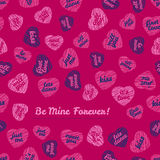 Be Mine Forever! typography. Happy Valentines Day Love Card. Royalty Free Stock Photography