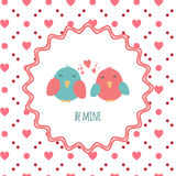 Be mine. Greeting card with a couple of cute birds in love to St. Valentine's Day. Vintage style. Royalty Free Stock Images