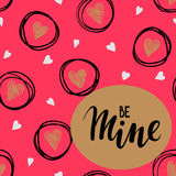 Be mine Hand drawn lettering on gold frame with pink background and sketch hearts. stock illustration
