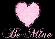 Be Mine with Pink Heart on Black Background. Designed with a fabric pink floral heart and pink puffy be mine words on a black background. This is best designed stock illustration