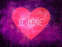 Be Mine Pink Heart on Purple Grunge Background Royalty Free Stock Image
