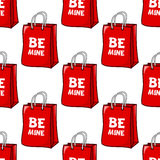 Be Mine Red Bag Seamless Pattern Stock Image