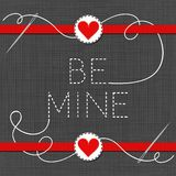 Be mine red hearts in love Valentine`s day card Royalty Free Stock Image
