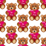 Be Mine Teddy Bear Seamless Pattern Stock Photography