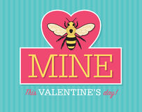 Be Mine Valentine Emblem. Valentine emblem with bee Royalty Free Stock Photo
