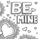 Be Mine Valentine heart sketch Stock Image