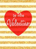 Be Mine Valentine vector card Royalty Free Stock Photography