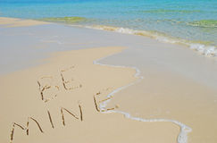 Be Mine Written on Beach Royalty Free Stock Photos