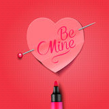 Be Mine - written on red paper heart sticker Royalty Free Stock Photo