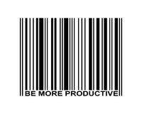 Be More Productive Barcode. Be more productive word and barcode icon Royalty Free Stock Photography