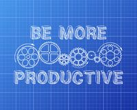 Be More Productive Blueprint. Hand drawn be more productive sign and gear wheels on blueprint background Royalty Free Stock Image