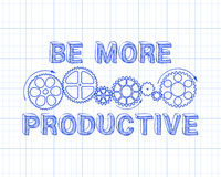 Be More Productive. Hand drawn be more productive sign and gear wheels on graph paper Stock Photo