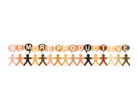 Be More Productive Paper People Speech. Be more productive word in speech bubbles with cut out paper people chain in different skin tone colors Royalty Free Stock Image