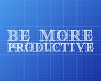 Be More Productive Word Blueprint. Be more productive text hand drawn on blueprint background Royalty Free Stock Images
