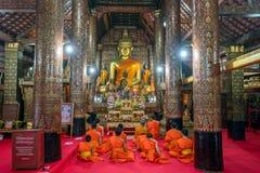 Be munkar på Wat Xieng Thong luangprabang Royaltyfria Bilder