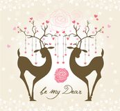 Be my dear. Romance Valentine's card with lovely deers Royalty Free Stock Images